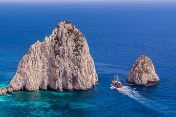 Keri Caves and Clifs in Zakinthos Island, Greece with ship saili