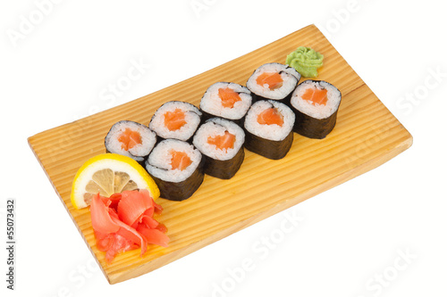 Sushi rolls with fresh salmon