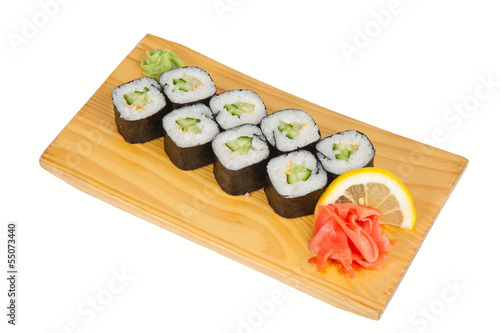 Sushi riolls with cucumber isolated on white