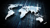 Datenströme und Weltkarte