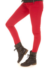 red pants woman legs boot