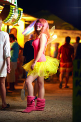 beautiful girl on music festival, youth culture