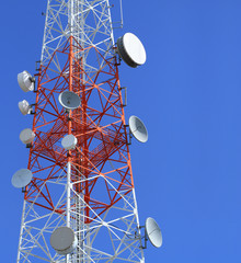 Mobile phone mast antenna with blue sky