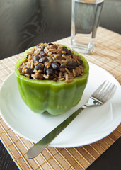 Rice and Beans Stuffed Pepper