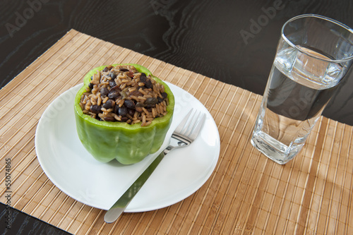 Stuffed Green Pepper with Water