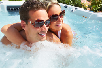 Happy couple in spa