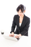 asian businesswoman working on white background