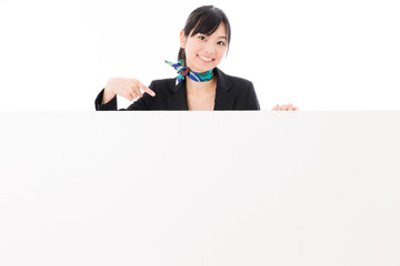 asian businesswoman with blank whiteboard
