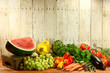 Grocery Produce Items on a Wooden Plank - 55076002