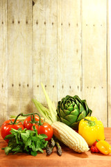 Grocery Produce Items on a Wooden Plank
