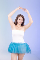 hispanic woman in tutu dress