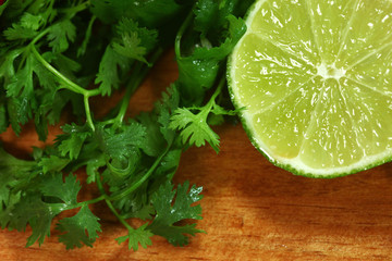 Salsa Ingredients of Lime and Cilantro