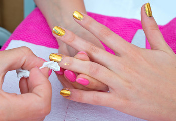 woman hand on manicure