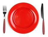 Fototapety Knife, color plate and fork, isolated on white