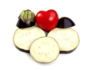 Eggplant or Aubergine and the Red Heart