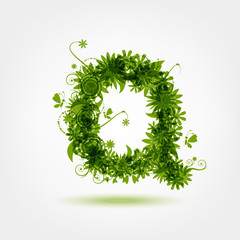 Green eco letter Q for your design