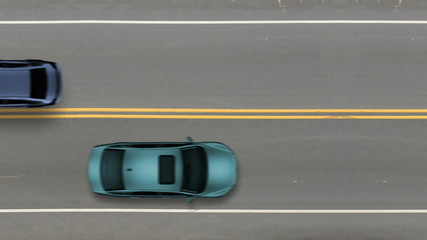 Cars passing by top view, road street traffic