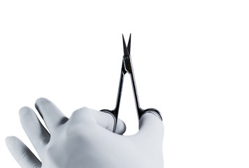 Scissors holding by hand