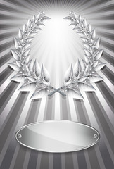 Silver award laurel wreath and label for jubilee text