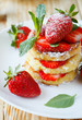pancakes with fruit, ripe strawberry