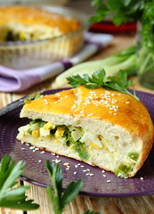 vegetable pie on a plate