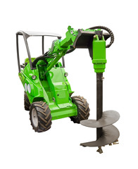 Small tractor with a large drill bit