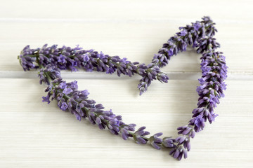 Heart of lavender on a white table