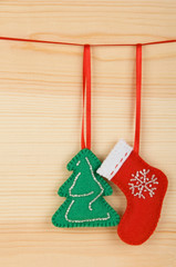 Handmade Christmas decorations: felt Santa boot and Xmas tree