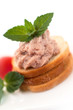 Wholemeal bread with pate and vegetables