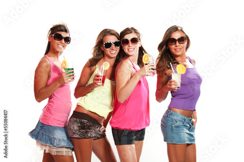 four girls fun with a drink, portrait, isolated on white