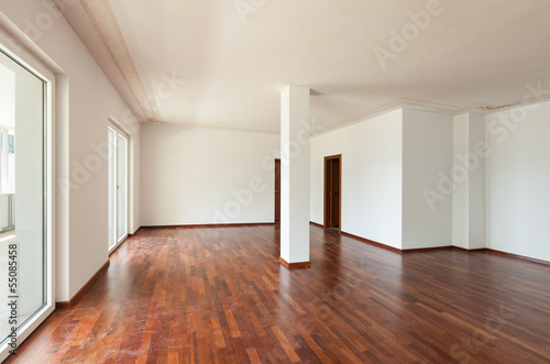 interior apartment, large living room with column