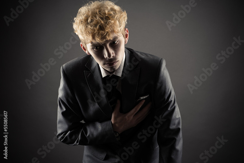 young business man sick heart