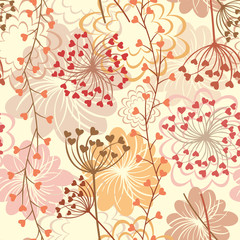 Seamless floral retro vector background
