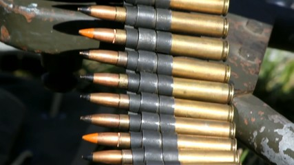 Closeup Tilt View Of Linked MG Bullets