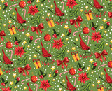 Seamless Christmas pattern on a green background.