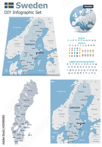 Sweden maps with markers