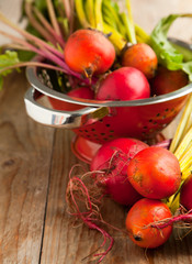 Organic red and yellow beetroots