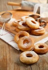 Fresh donuts with powder sugar