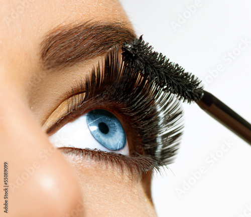 Mascara Applying. Long Lashes closeup
