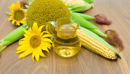 sunflowers, corn and oil closeup
