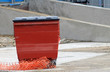 Red recycling bin