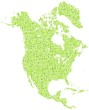 Decorative map of North America Continent