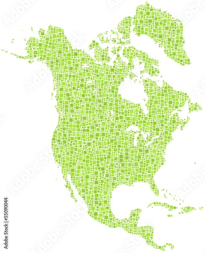 Decorative map of North America Continent