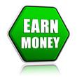 earn money in green hexagon banner