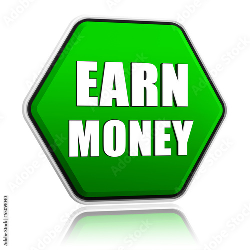 earn money in green hexagon banner