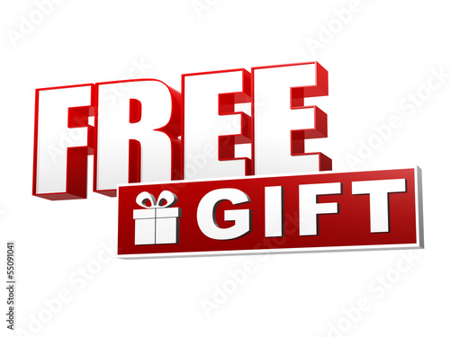 free gift with present box symbol in red white banner - letters