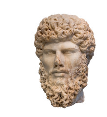 Head of Roman emperor Lucius Verus (Reign 161-169 AD), isolated