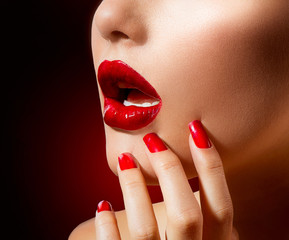 Red Lips and Nails. Make up and Manicure