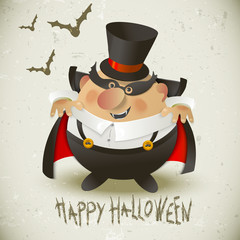 Cute Count Dracula.  Halloween design background.