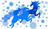 Two blue horses and snowflakes - symbol of 2014 year